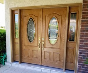 Two Large Entry Door with Glass Sidings