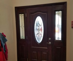Brown Entry Door with Glass and Sidings