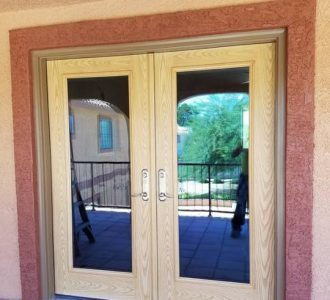 Wood with Large Glass Patio Door
