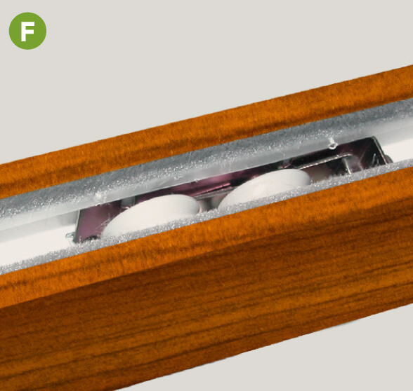 """Patented sliding system features four adjustable 1"""""""