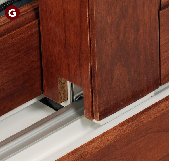 Fixed and mobile panel rails meet and interlock perfectly,